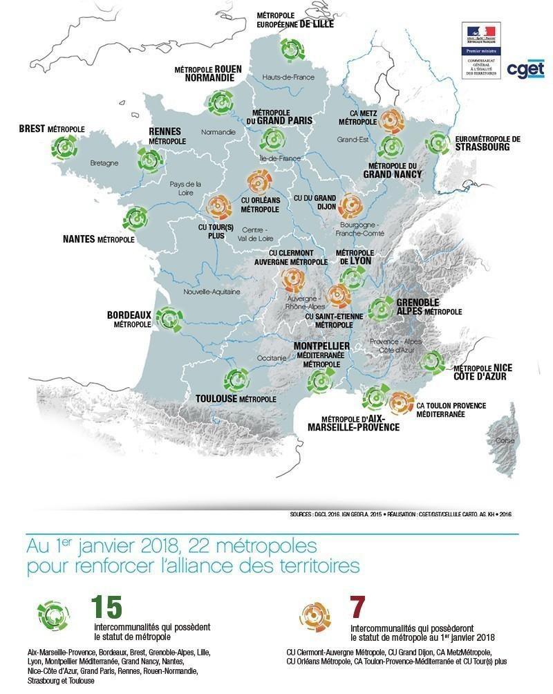 Les 22 métropoles françaises au 1er janvier 2018