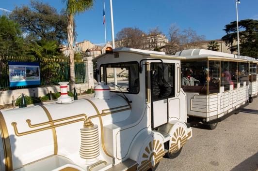 Des petits trains ont été mis en service tout le week-end pour amener gratuitement les visiteurs sur Chalucet