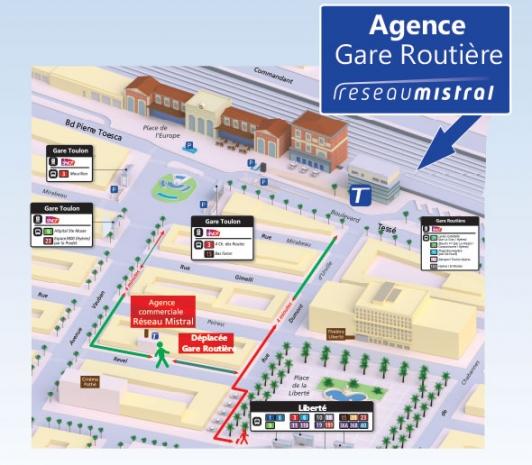 Carte - Agence Gare routière - réseau Mistral