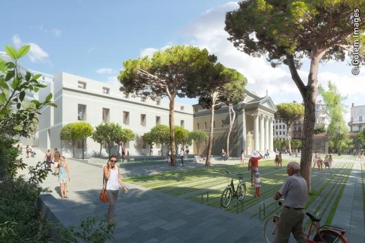 Le Jardin Alexandre 1er et la médiathèque municipale et départementale, autour de la chapelle historique © Golem