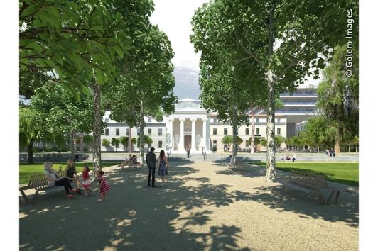 La chapelle historique qui abritera la médiathèque au coeur du Jardin Alexandre 1er © Golem Images