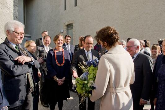 Arrivée de François Hollande et Audrey Azoulay à la villa Noailles